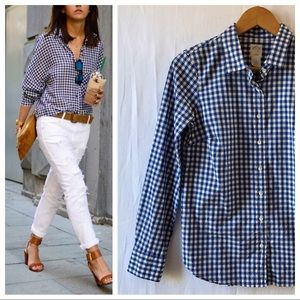 J. Crew The Perfect Shirt Blue Gingham Check Sz 2